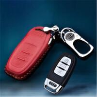 奥迪A6L专用钥匙包金属扣真皮A4LA5Q5Q3Q7遥控保护套皮款A3A4LA5L