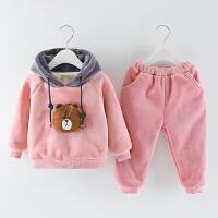 女童冬装套装2018新款0-1-3岁宝宝加绒两件套4小童洋气加厚棉衣潮 粉红色 金貂绒小熊粉色