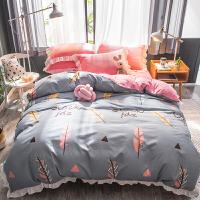 ???韩版加厚保暖法莱绒四件套珊瑚绒冬季床上用品双面法兰绒被套床单