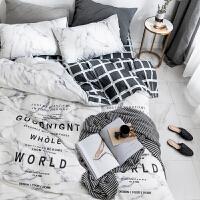 ???北欧性冷淡风全棉四件套 学生宿舍纯棉三件套床单床笠被套1.8m 2.0m(6.6英尺)床 @床笠款套件