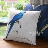 美式乡村鹦鹉鸟棉麻沙发抱枕靠垫含芯可拆洗床头靠背汽车大靠枕套