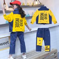 2018女童洋气春装新款韩版潮衣时尚宝宝儿童中大童装牛仔春秋套装