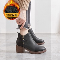 chic靴子女粗跟2018秋冬季新款高跟网红女鞋英伦风马丁靴中跟短靴SN2591 黑 加绒保暖