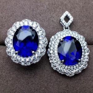 斯里兰卡蓝宝石套装,豪华镶嵌