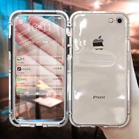iphone6手机壳苹果6splus手机套7plus磁吸万磁王全包防摔玻璃6plus/6s/8plu 6/6s 透明黑