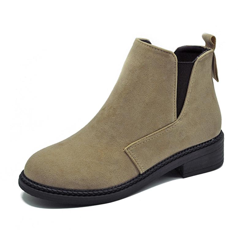 靴子女短靴女切尔西靴马丁靴女秋冬新款英伦风学生复古百搭松紧女短靴女靴粗跟英伦风2DTH