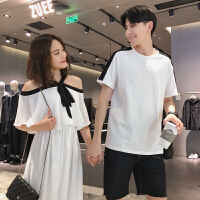 情侣装夏装2018一字肩露肩连衣裙夏季韩版短袖上衣T恤套装
