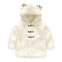 亲婴儿秋冬装加厚加绒外出服全家装母子一家三口母女装外套冬 妈妈款 杏色米花绒连帽外套