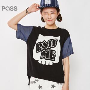 PASS原创潮牌夏装新款 前长后短字母提花大码拼接宽松针织衫女6620323003