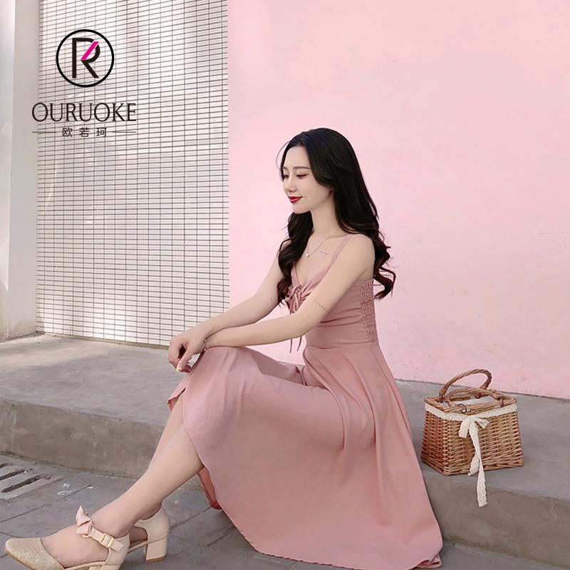 欧若珂    2018夏季新款韩版收腰修身小性感吊带裙子露肩心机显瘦A字连衣裙女