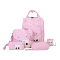 双肩包帆布书包手提包男女学生可爱卡通背包韩版中小学生补习包潮 粉红色