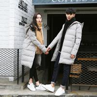 新款潮男冬季中长款加厚连帽棉衣韩版男士情侣装青年修身外套