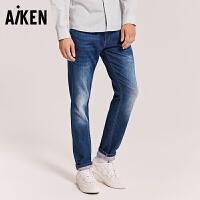 森马旗下Aiken牛仔裤男士2018新款裤力水洗个性潮流直筒长裤男