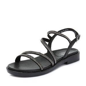 BASTO/百思图2018夏季专柜同款羊皮革水钻方跟简约女凉鞋RNA13BL8