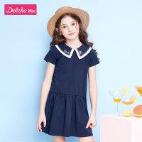【抢购价:69】笛莎童装女童裙子2020夏季新款中大童儿童小女孩娃娃学院风连衣裙