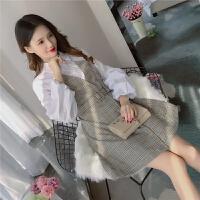 新款韩版气质衬衣领长袖拼接收腰显瘦格子假两件呢子连衣裙女 深卡其色 M