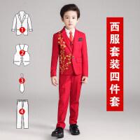 花童小礼服男儿童演出服西服套装大红色中大童西装沾花男童秋冬款
