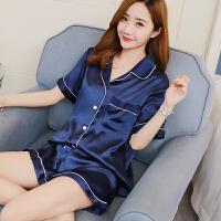 春秋夏季性感睡衣女短袖两件套韩版套装薄款大码家居服