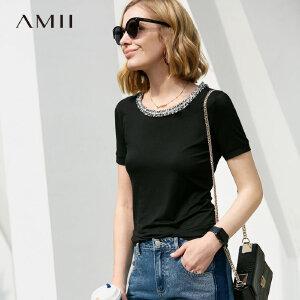 【到手价:60.9元】Amii极简时尚洋气潮T恤女2019夏季新款织带拼接圆领修身短袖上衣