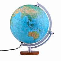 博目地球仪:30cm中英文地形政区双画面地球仪(LED灯光型)16-30-06