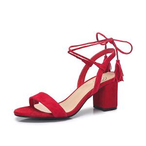 骆驼女鞋 2018夏季新款 流苏绑带高跟鞋性感一字扣带粗跟女凉鞋潮