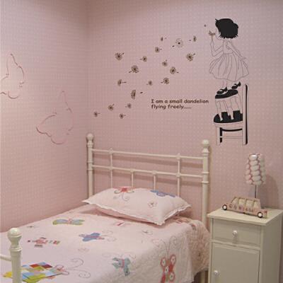 墙纸贴墙纸装饰画床头浪漫满屋装饰可爱女孩贴纸浪漫蒲公英贴花