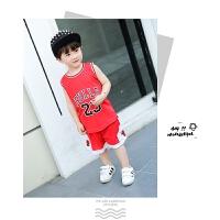 儿童篮球服公牛乔丹女男童装背心球衣套装小孩中大童幼儿园表演服