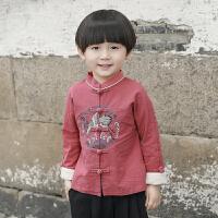 男童唐装秋装2018仙鹤刺绣男宝宝复古童装中国风套装儿童汉服yly 红色 仅上衣