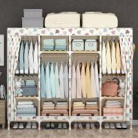 简易衣柜简约现代经济型组装实木简易布衣柜牛津布布艺双人 米白色 2M宽枫叶 2门