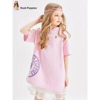 【159元任选2件:79.5元】暇步士童装女童连衣裙夏季新款儿童裙子短袖连帽T恤裙