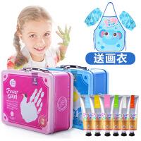 美��和�手指��男女孩可水洗水彩�料�L��涂�f手提箱�Y盒