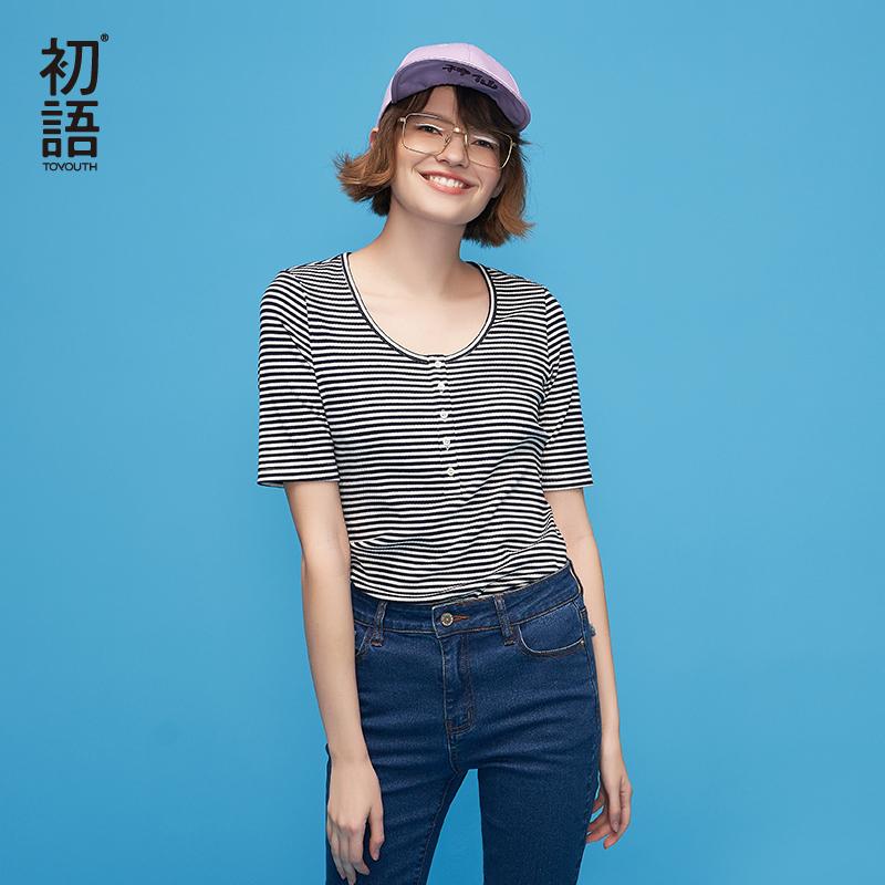 【初语年货节,3折价:55.2】初语 2018夏季新品 黑白条纹修身大圆领短袖女T恤薄款打底衫百搭