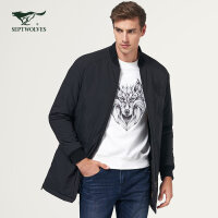 七匹狼棉衣 中青年男士时尚休闲中长款保暖外套黑色棉服
