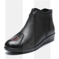 真皮舒适女鞋保暖加绒冬老鞋奶奶雪地短靴软底妈妈棉鞋SN7272 黑色