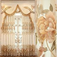 欧式窗帘透光半遮光镂空提花布料帘头房间短帘飘窗帘 卡西欧