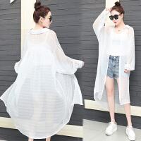 雪纺白衬衫女长袖夏装2018新款上衣服中长款薄外套