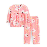 男童女童睡衣法兰绒儿童家居服套装宝宝冬装加厚童装