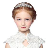 春夏新款儿童皇冠公主发饰六一演出头饰发箍女童王冠珍珠头箍发夹38 白色