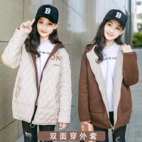 女童冬装外套韩版2018新款洋气12-15岁女大童两面穿长款秋冬女孩