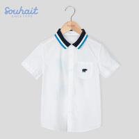 【3件3折:68元】水孩儿souhait男童短袖衬衫休闲夏季衬衣新款中大童时尚纯棉ASXXM551