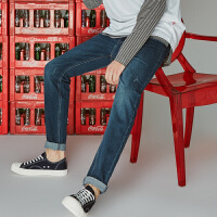 【超级品牌日狂欢延续1件3折到手价:74.7】美特斯邦威旗下 4M牛仔裤男冬季弹力修身小脚长裤子