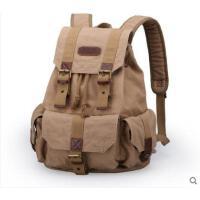 多口袋包包英伦风女双肩包男士背包休闲帆布包大容量旅行包书包