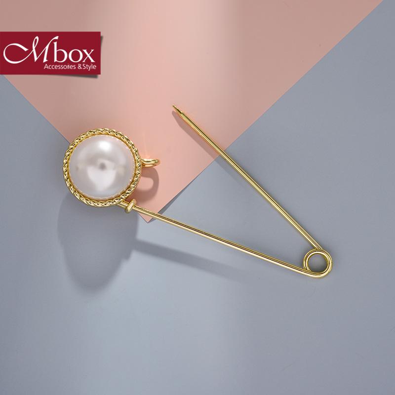 新年礼物Mbox胸针 女款韩国版采用精选贝珍珠气质胸针胸花领针 华沙流年韩版潮流 小资原创 送精美包装