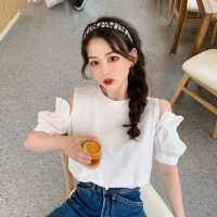 露肩白色短袖T恤女夏季2020新款韩版打底衫内搭短款泡泡袖上衣潮