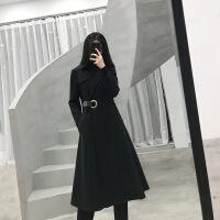 2018冬�b新款黑色中�L款大裙�[收腰毛呢外套女��s�r尚女士大衣潮 黑色