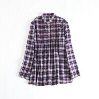 女中长款衬衫 立领格子娃娃衫显瘦日系纯棉磨毛上衣42X