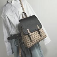 韩版新款女包格子撞色小双肩包女校园休闲百搭小背包旅行包包