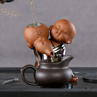 创意紫砂茶道配件 功夫茶具茶叶茶滤茶漏网隔茶器陶瓷过滤器茶宠 福禄小和尚
