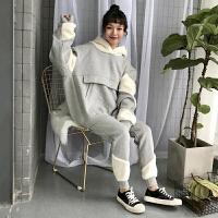 运动套装女秋冬韩版拼接羊羔毛加厚加绒连帽卫衣+休闲裤两件套潮