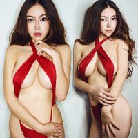 情趣内衣 欧美性感连体性感露乳 挂脖女士红色诱惑三点套装情趣内衣